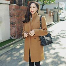 Womens Wool BLend MId Long Coat Trench Autumn Winter Slim Fit lapel outerwear