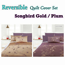 3 Pce SONGBIRD - Fully Reversible Jacquard Quilt Cover Set - QUEEN KING