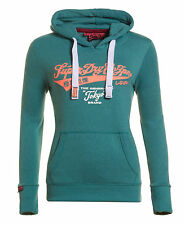 New Womens Superdry Tokyo Brand Entry Hoodie Canyon Teal Snowy
