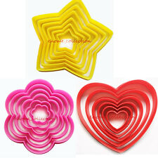 6pcs Love Heart Star Plum Flower Shape DIY Cookie Cutter Mold Fondant Cake Mould