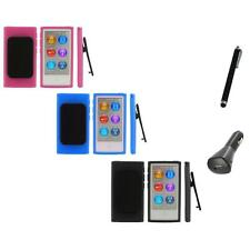 Color TPU Rubber Case Cover Belt Clip+Charger+Pen for iPod Nano 7th Gen 7 7G