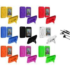 Hybrid Hard/Soft Skin Case Cover Stand+Earphone Mic for iPod Touch 4th Gen 4G 4