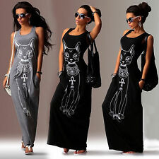 New Womens Sleeveless Cat Print Sexy Long Maxi Dress Party Summer Beach Sundress