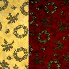 Christmas Holly Wreaths & Bunches On Red Or Cream 100% Cotton Fabric 135cm Wide