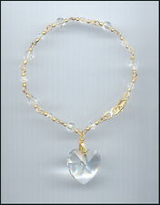 Beautiful Gold Filled Charm Bracelet with Large Swarovski CLEAR Crystal Heart
