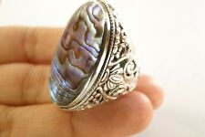 Green Paua Abalone Mother of Pearl Ornate 925 Sterling Silver Ring 6, 6.75