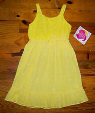 New! Girls YOUNGLAND Bright Yellow & Silver Metallic Floral Lace Dress Sundress