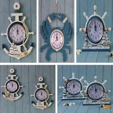Wooden Hanging Clock Nautical Wall Clock Desk Table Clock Home Cafe Hotel Decor