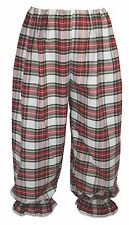 Adults Long White & Red PolyCotton Tartan Bloomers Victorian Steampunk