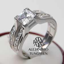 Women's Ring 2.10 Ct Princess CZ 925 Sterling Silver Wedding Set Size 5 to 10