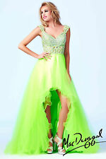 New Mac Duggal 64707A Neon Lime Hi-Low Tulle Ballgown Prom Pageant Formal Dress