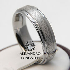 Tungsten Ring Wedding Band Comfort Fit 6MM Gorgeous Celtic Design Size 6 to 14