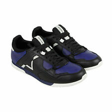 Diesel S-Furyy Mens Black Blue Leather Lace Up Sneakers Shoes