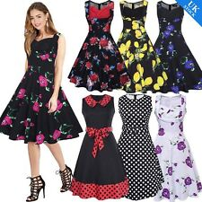 UK STOCK Vintage Retro Rockabilly Pinup Evening Party Prom Womens Swing Dress