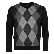 Pierre Cardin Argyle Knit Jumper Mens Black/Charcoal Sweater Pullover Top