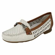 'Ladies Rieker' Rounded Toe Slip On Flat Loafer Shoes - 40085