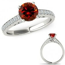 1.5 Ct Red Diamond Anniversary Solitaire Ring Eternity Band Set 14K White Gold