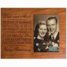70th Anniversary Wedding Gift Personalized 4x6 Picture Photo Frame Engraved