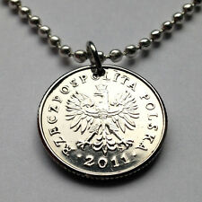 Poland 50 Groszy coin pendant white Polish EAGLE Polska necklace Warsaw n000847
