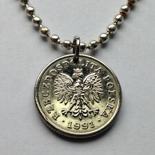 Poland 20 Groszy coin pendant Polish white EAGLE Polska necklace Warsaw n000796