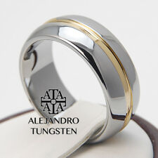 Tungsten Ring Luxury Wedding Band 8MM  Gold Inlay Silver Shiny Size 6 to 14