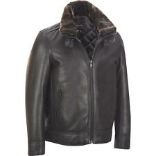 Wilsons Leather Mens Big & Tall Bomber Leather Jacket W/ Detachable Faux-Fur Col