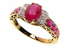 9ct Solid Gold Vintage Insp Ruby & Diamond Ring R468 Custom