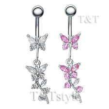 TT CZ Butterfly Dangle Belly Bar Ring (BL80)