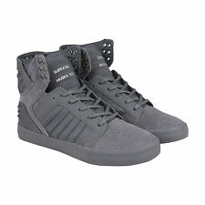 Supra Skytop Evo Mens Grey Suede High Top Lace Up Sneakers Shoes