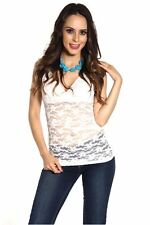 DEALZONE Gorgeous V Neck Lace Top S Small Women White Casual Short Sleeve
