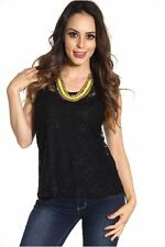 DEALZONE Fascinating Double Layer Lace Top S Small Women Black Casual