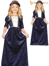 Girls Medieval Queen Costume Fancy Dress Princess Fairytale Book Week Day Outfit