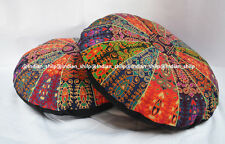 Set of 2 Indian Mandala Floor Pillows Round Cotton Cushion Cover Ottoman Poufs