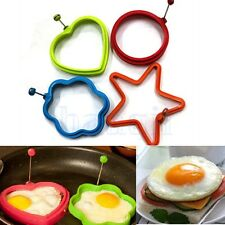 Silicone Omelette Pancake Poach Mould Ring Fried Egg Shaper Cooking Kitchen FA