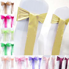 1/2 Pcs Organza Wedding Party Banquet Chair Cover Sashes Tie Bows Decoration