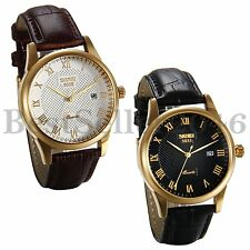 Fashion Mens Date Leather Stainless Steel Military Sport Quartz Wrist Watch Gift