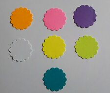 """1"""" Scalloped Circles Gift Tags Scrapbooking Toppers Cardstock Assorted Colors"""
