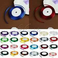 """1 Roll 25 Yards 3/8"""" 10mm  Satin Ribbon Bow Wedding Party Supply Many Colours"""