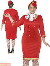 Adults Ait Hostess Curves Costume Ladies Plus Size Flight Attendant Fancy Dress