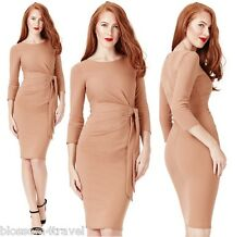 Goddess Tan 3/4 Sleeve Gathered Pencil Tie Cocktail Evening Party Dress Races