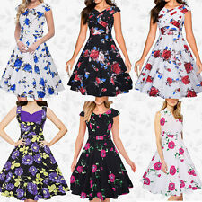 Rockabilly Womens Ladies 50s Vintage Housewife Party Prom Cocktail Swing Dress