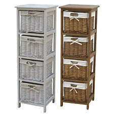 Charles Bentley Wooden Storage Tower w/ 4 Wicker Baskets Boxes - White & Natural