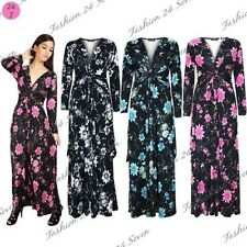Womens Floral Roses Spring Ladies Sunny V Neck Front Tie Knot Twist Maxi Dress