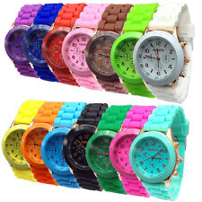 Unisex Women Mens Boys Girls Jelly Sports Geneva Silicone Quartz Wrist Watch