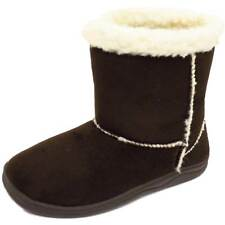 GIRLS KIDS BROWN WARM SNUGG INFANTS WINTER FLAT FAUX-FUR LINED BOOTS SHOES 10-2