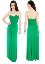 Long Jade Ruched Grecian Strapless Evening Party Prom Maxi Dress Size 8-12 Ball