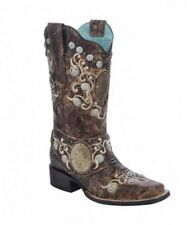 Corral Ladies Square Toe Brown Concho & Side Harness Western Boots E1041
