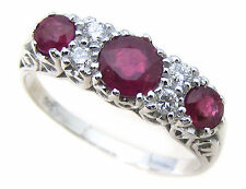 9ct Solid White Gold Ruby & Diamond Ring R75 Custom