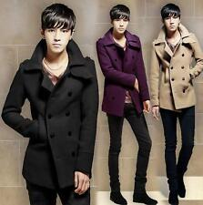 New Mens Wool Blend Coat Double-breasted trench Peacoat Slim Fit Lapel outerwear