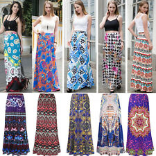 Ladies Summer Long Boho Long Floral Print Skirt Evening Party Beach Maxi Dresses